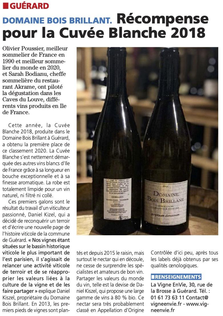 Read more about the article Récompense pour la Cuvée Blanche 2018